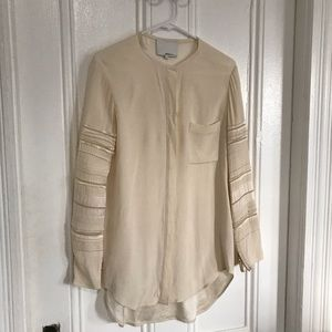 3.1 Phillip lim yellow long sleeve silk shirt top